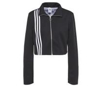 Woman Cropped Stripe-trimmed Jersey Track Jacket Black