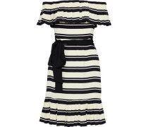Off-the-shoulder Pleated Striped Crepe Dress Cream