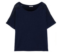 Cara Lace-trimmed Stretch-jersey T-shirt Navy