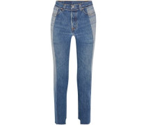 + Levi's distressed high-rise straight-leg jeans