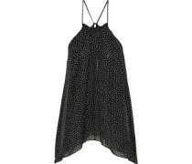Draped Printed Silk-chiffon Top Black