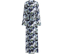 Britten Floral-print Silk Crepe De Chine Maxi Shirt Dress Sky Blue