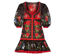 Floral-print cotton mini dress