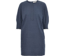 Isolde Embroidered Cotton-gauze Mini Dress Navy