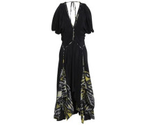 Paneled Printed Woven And Silk-crepe Midi Dress Black