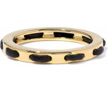 Gold-tone leather-trimmed ring