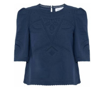 Broderie Anglaise Cotton Blouse Navy Size 12