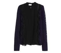 Lace-trimmed Fil Coupé Silk-blend Blouse Indigo Size 0