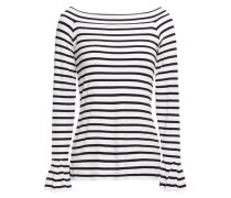 Fluted Striped Stretch-jersey Top Midnight Blue