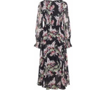 Shirred floral-print chiffon midi dress