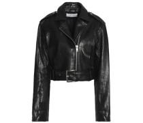 Cropped Leather Biker Jacket Black