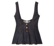 Scoop Denim Peplum Top Dark Denim