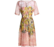 Floral-print silk-blend gazar dress