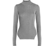 Metallic ribbed stretch-knit turtleneck sweater