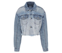 Daggarz Cropped Distressed Denim Jacket Light Denim