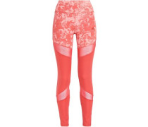 Mesh-trimmed Printed Stretch Leggings Coral
