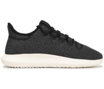 Tubular Shadow Leather-trimmed Stretch-knit Sneakers Black