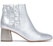 Ruffle-trimmed Leather Ankle Boots Silver