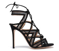 Lace-up Mesh And Suede Sandals Black