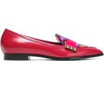 Studded leopard-print elaphe, smooth and patent-leather loafers