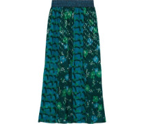 Printed Plissé Fil Coupé And Silk-chiffon Maxi Skirt Forest Green
