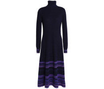 Striped Cashmere-blend Turtleneck Midi Dress Navy