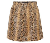 Snake-effect Leather Mini Skirt Animal Print