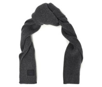 Bansy Appliquéd Ribbed Wool Scarf Dark Gray Size --