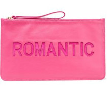 Cutout Suede-trimmed Leather Pouch Pink Size --