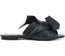 Knotted Leather Slides Navy