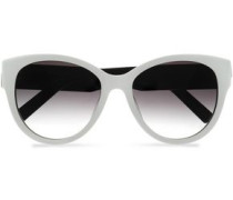 Cat-eye two-tone acetate and silver-tone sunglasses