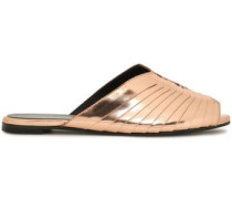 Gamure Paneled Metallic Leather Slides Rose Gold