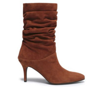 Ruched Suede Ankle Boots Light Brown