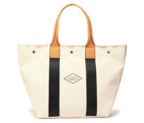 Leather-trimmed cotton-canvas tote
