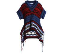Fringe-trimmed jacquard-knit sweater