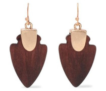 Gold-plated Wood Earrings Brown Size --