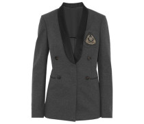 Satin-trimmed embellished cotton-blend jersey blazer