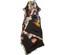 Reversible Ruffle-trimmed Printed Silk Crepe De Chine Vest Black Size ONESIZE
