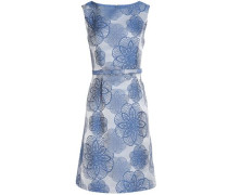 Belted embroidered floral-print jacquard mini dress