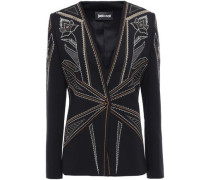 Studded Embroidered Ponte Blazer Black