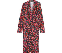 Lace-trimmed Floral-print Cady Kimono Magenta