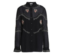 Embroidered cotton-voile shirt
