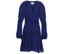 Wrap-effect Gathered Silk-chiffon Mini Dress Royal Blue