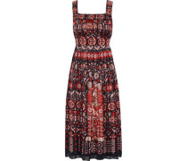 Printed Jacquard Midi Dress Red