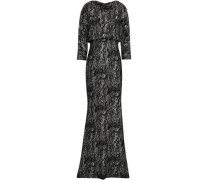 Coated Printed Crepe Gown Black