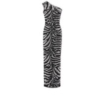 Woman One-shoulder Frayed Metallic Zebra-jacquard Gown Animal Print