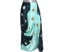 Draped floral-print silk and cotton-blend cloqué skirt