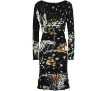 Zip-detailed Printed Crepe Dress Black