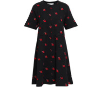 Flocked Printed Cotton-jersey Mini Dress Black