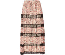 Hetty lace-paneled printed georgette maxi skirt